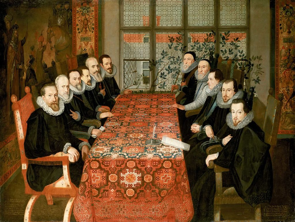 A 18th century painting depicts eleven male judges sitting at a long table.